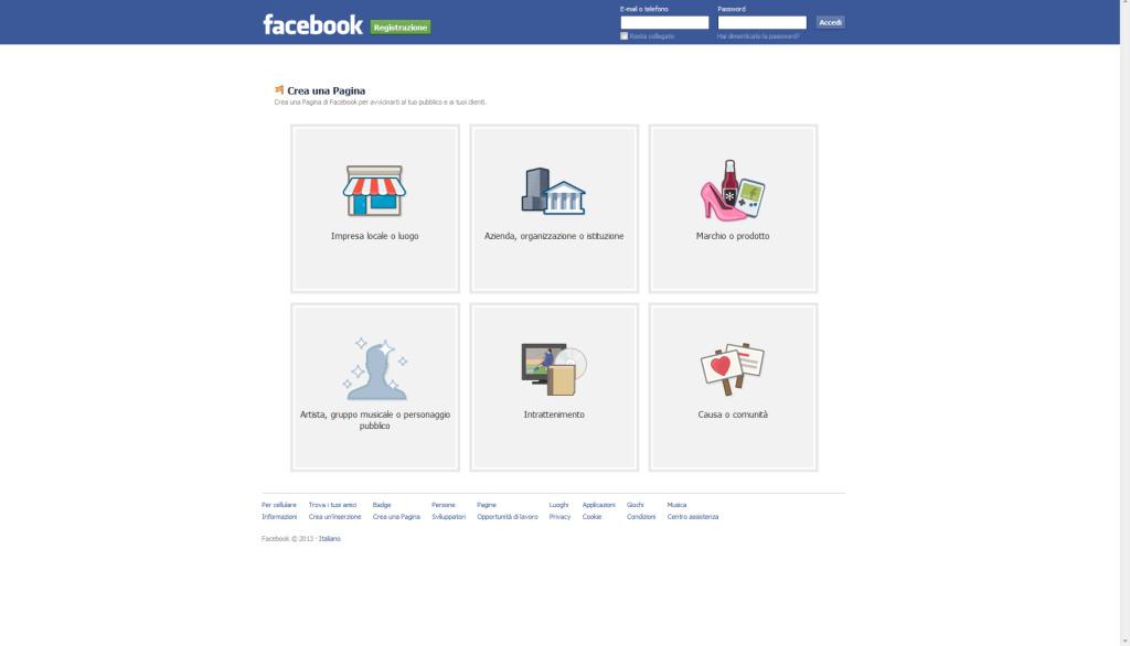 Aprire una pagina aziendale su facebook, step 2