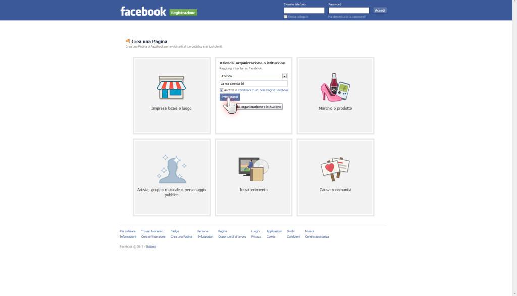 Aprire una pagina aziendale su Facebook, step 3