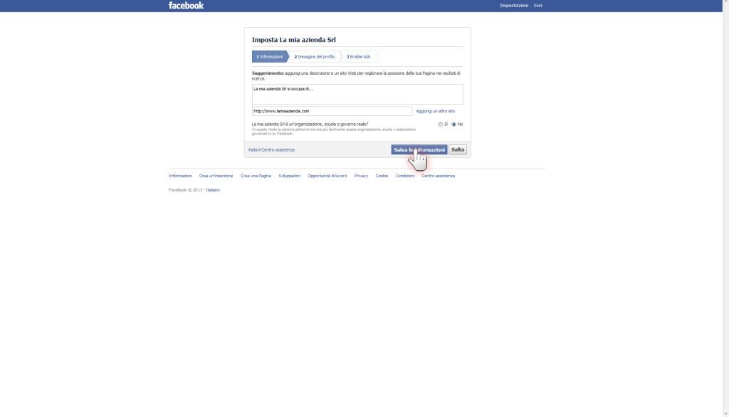Aprire una pagina aziendale su Facebook, step 6