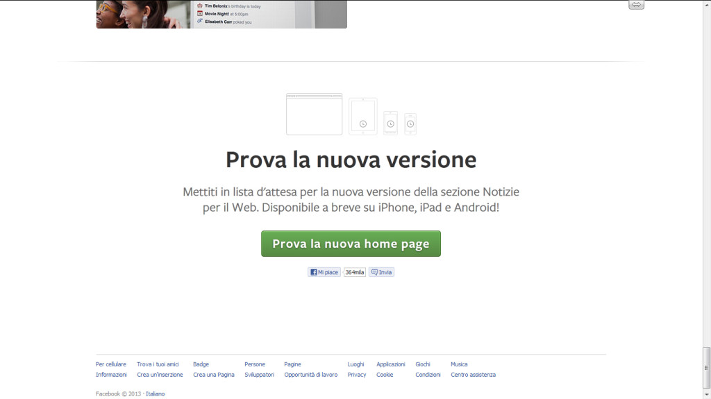 Come ottenere il nuovo layout di Facebook