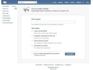 Vkontakte apertura pagina aziendale