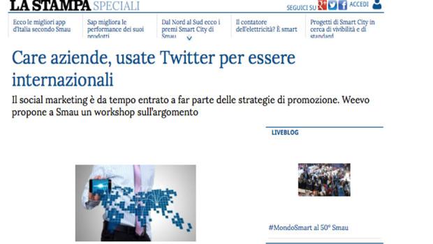 [La Stampa] Care aziende, usate Twitter per essere internazionali