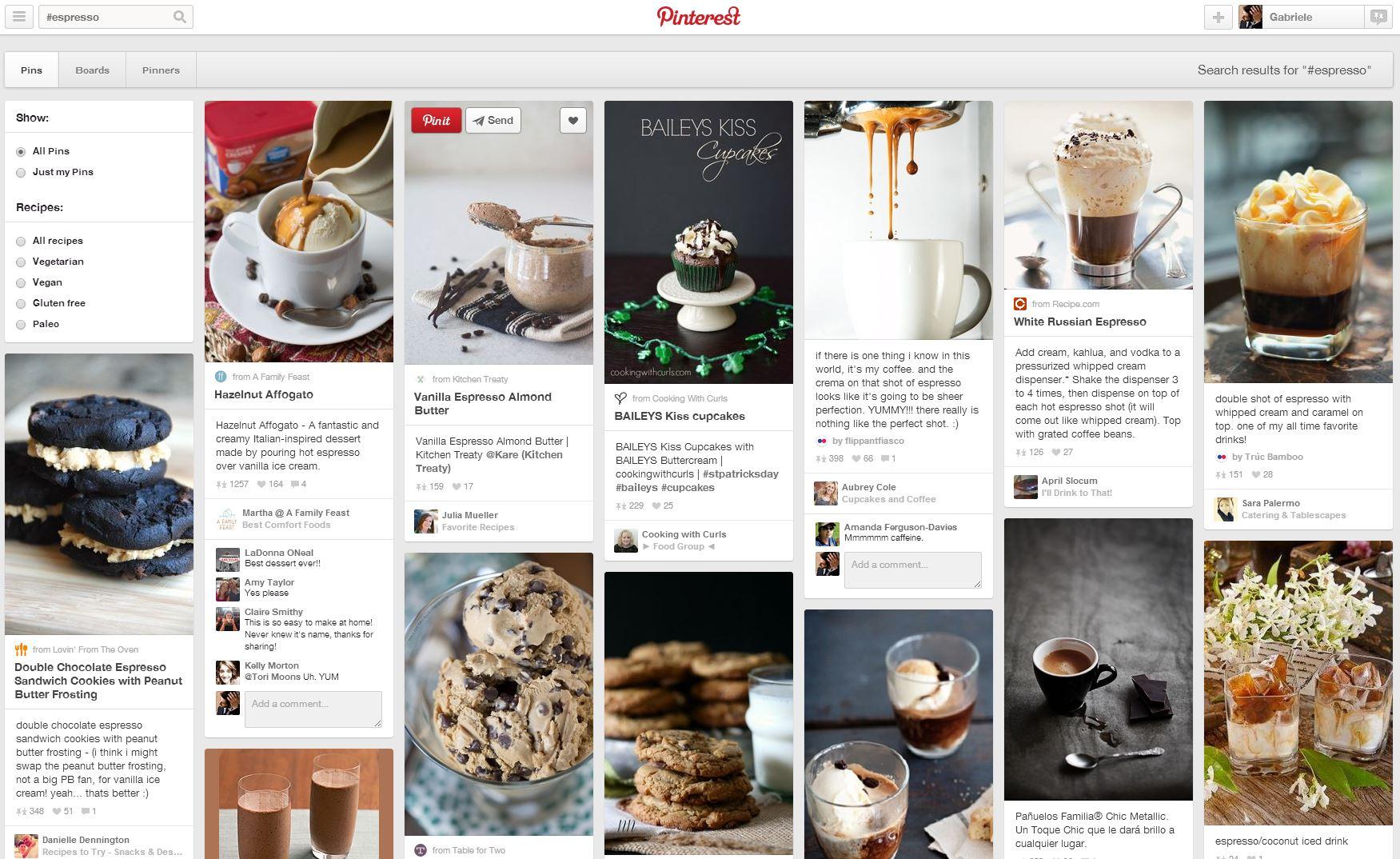 Ricerca hashtag Pinterest