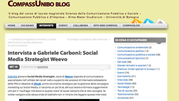 [UniBO] Intervista a Gabriele Carboni: Social Media Strategist Weevo